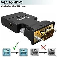 VGA zu HDMI Adapter mit Audio (Alter PC zu TV/Monitor mit HDMI), FOINNEX VGA zu HDMI TV Konverter für HDTV, Computer, Projektor mit Audio Kabel und Micro USB Kabel, Plug and Play, Portable Größe