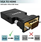 FOINNEX Adaptateur VGA vers HDMI avec Audio, VGA HDMI Convertisseur Sortie AV 1080p pour TV, Ordinateur, Projecteur, Câble Audio Câble Micro USB, Connecteur HD, Taille Portable Plug and Play.