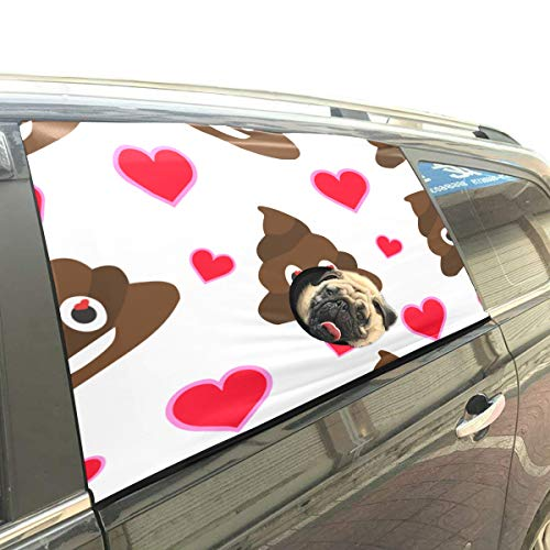 Reopx Emoji Cute Fun Popolare Poo Express Pieghevole Pet Dog Safety Car  Stampato Window Fence Barriere Cortina Protector per Baby Kid Regolabile