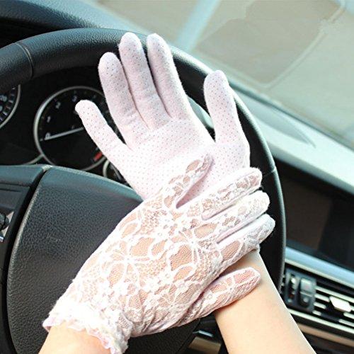 TGLOE Sun-blocage Lady mitaines protection UV dentelle mitaines Corée mitaines de conduite de style M1 Blanc