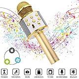 Ulikey Mircophone Karaoké sans Fil Micro Portable Micro Bluetooth Avec Haut-Parleur pour Enfants/Adultes Chanter, Compatible avec Android/IOS/PC/Smartphone (Doré)