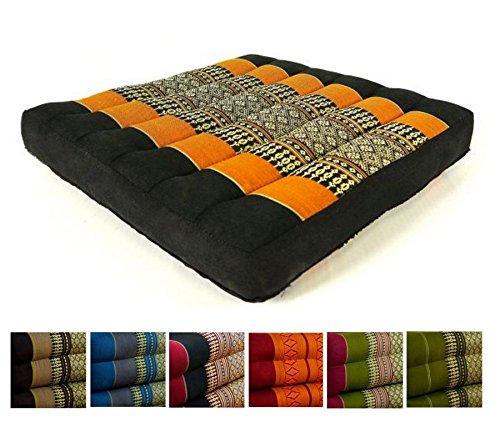 Kapok Sitzkissen 35x35x6,5Cm Der Marke Livasia, Optimal Als Stuhlauflage Oder Meditationskissen, Bodenkissen, Stuhlkissen (Schwarz / Orange)