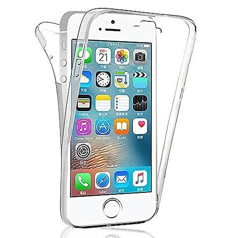 VCOMP® Coque Housse Silicone Gel TRANSPARENTE ultra mince 360° protection intégrale Avant et Arrière pour Apple iPhone 5/ 5S/ SE - TRANSPARENT