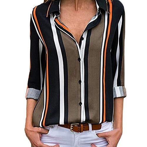 VEMOW Sommer Herbst Frühling Elegante Damen Frauen Casual Cuffed Langarm V-Ausschnitt Casual Täglichen Arbeit Taste up Gestreiftes Hemd Bluse Tops(X1-a-Schwarz, 40 DE/M CN)