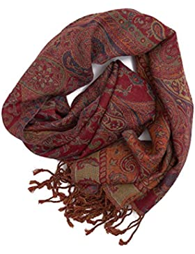 Bufanda Pashmina de Punja, India, calentita y elegante, estampado Paisley, 160x35 cm - 100% lana