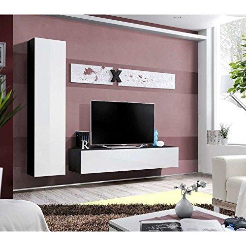 JUSThome AIR G I Wohnwand Anbauwand Schrankwand (HxBxT): 190x210x40 cm Schwarz Matt / Weiß Hochglanz