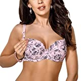 Gorsenia MK11 Women's Iga Rose Pink and Grey Floral Padded Underwired Maternity Nursing Bra 70G