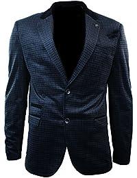 Giacca Vintage da Uomo Blazer Elegante in Tweed Vellutato Blu Scuro a  Scacchi blu scuro 878e4240916