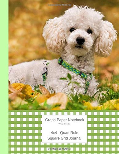 White Poodle: Large Quad Rule 4x4 Square Grid Journal (Graph Paper 4x4 Book, Band 8) ()