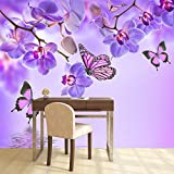 azutura Lila Blume Wandbild Blumenschmetterling Foto-Tapete Mädchen Schlafzimmer Dekor Erhältlich in 8 Größen Riesig Digital