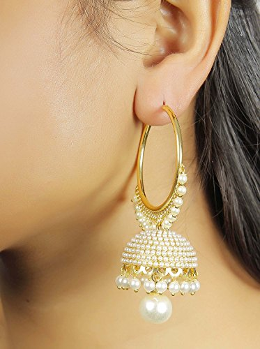 8fd0a4aa4c0e35 Meenaz Jewellery Traditional Gold Plated Pearl Jhumka Jhumki Earrings For  Women & Girls- Jhumki-J148