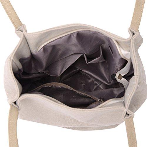 Shopper Canvas ZKOO Handtasche Beige Leinwand Kapazität Schultertasche Umhängetasche Tragetasche Damen Grosse wCq0rtC