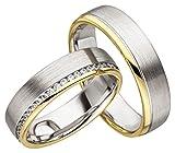2 x 585 Gold Eheringe Partnerringe Trauringe Hochzeitsringe in Gelbgold & Weißgold *mit Gravur und Steinen* JC019