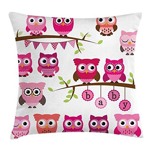 Kindergarten Throw Pillow Kissenbezug, Mädchen Baby-Dusche unter dem Motto Eulen und Zweige Adorable Cartoon Tierfiguren, dekorative quadratische Akzent Kissenbezug, 18 x 18 Zoll, lila rosa braun