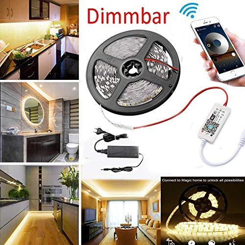 WLAN Dimmbar 5m LED Streifen Set 300 LEDs Lichtband mit 3A Netzteil, 2835SMD Strip Kit Licht Band Leiste Lichtleiste, 3000K Warmweiß, 12V Innenbeleuchtung mit Wifi/App gesteuert arbeite mit Alexa -