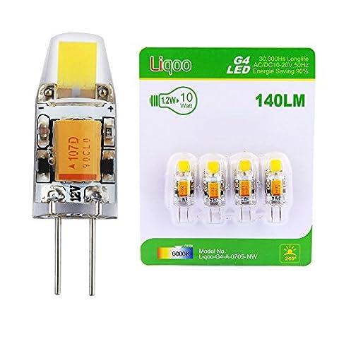 Liqoo® 4 x Ampoule LED G4 1.2 W COB AC