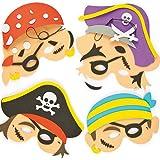 Bastelset für Schaumstoffmasken - Piraten - zum Basteln für Kinder ideal für Kindergeburtstag und Karneval - 4 Stück