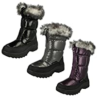Spot On Flat Snow Boot / Zip Front / Rouched / Fur Trim Collar