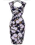 Festliche Kleider Damen Knielang Blumen Kleid Abschlussfeier Kleid 34 BP027-3