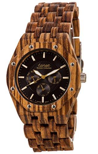 Holzuhr TENSE Mens Washington Premium Herren-Uhr J5803Z - Nat&uumlrliches Zebrano Holz J5803Z