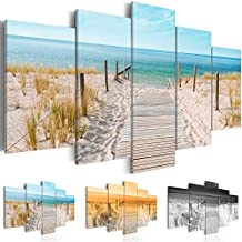Cuadro en Lienzo 200x100 cm ! Tres colores a elegir - 5 Partes - Formato Grande - Impresion en calidad fotografica - Cuadro en lienzo tejido-no tejido - Mare Costa Naturalezaa Paisaje c-B-0051-b-n 200x100 cm B&D XXL