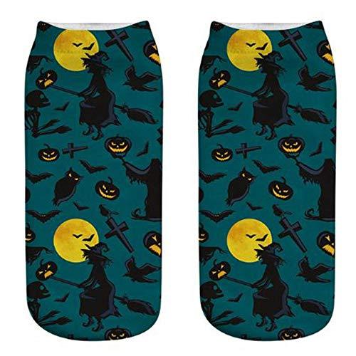 WYLLA Socken 2 Paar Frauen 3D Druck Socken Nachthimmel Fledermaus Kürbis Lampe Druck Baumwollsocken Kurze Socke -