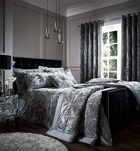 4 Teile Set Silber Weich Crushed Velvet Doppel Bettbezug Vorhänge 66 X 72 Zoll -