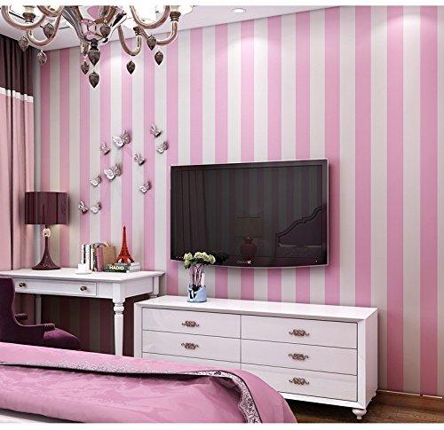MultiKing Tapete Mediterranen Stil Umwelt Kinderzimmer Tapete junge Cartoon rosa Non-woven Schlafzimmer Wohnzimmer vertikale Streifen Tapete
