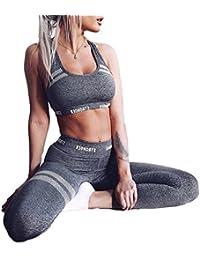 DOTBUY Ensemble Sport Yoga, Femmes Vest Top et Leggings Jogging Yoga Gym Fitness Survêtement Haute élasticité Tenue de Sport Causal Sportswear Tenues