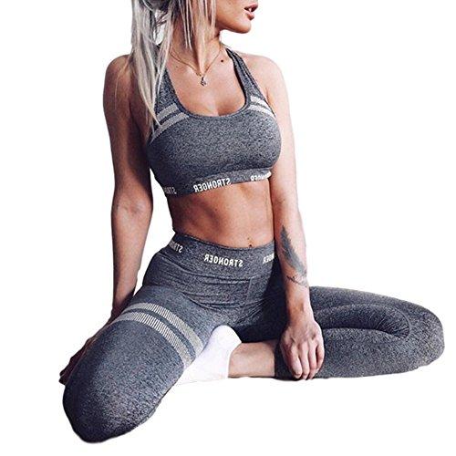 DOTBUY Ensemble Sport Yoga, Femmes Vest Top et Leggings Jogging Yoga Gym Fitness Survêtement Haute élasticité Tenue de Sport Causal Sportswear Tenues (L, Gris)