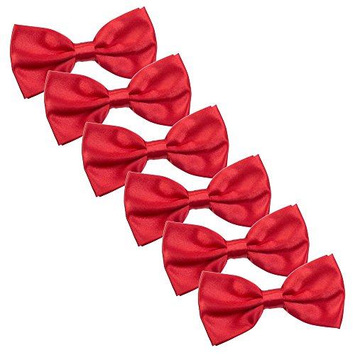Kajeer 6pcs Herren Fliege Schleife für Hochzeit Party - Bereits Gebunden mit Hakenverschluß und Verstellbar Smoking Schleife Schlipsr Smoking Schleife Schlips (Groß Rot)