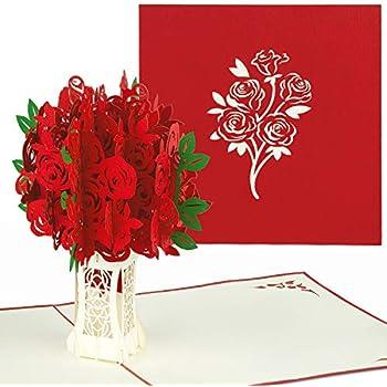 Carte Anniversaire Bouquet De Roses.Papercrush Carte Pop Up Bouquet Des Roses Rouges Carte D Amour 3d Pour Des Occasions Speciales Fete Des Meres Anniversaire De Mariage Carte
