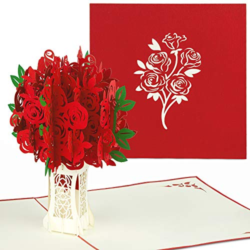 PaperCrush® Pop-Up Karte Rote Rosen - 3D Valentinstagskarte für Sie, Blumen Geburtstagskarte mit Rosenstrauß, Besondere Glückwunschkarte für Frauen, Freundin (Geburtstag, Valentinstag, Hochzeitstag)