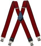 Decalen Hosenträger für Herren breit extra starken 4 cm mit 4er Clips X-Form lange für Männer und Damen Hose (Rot)
