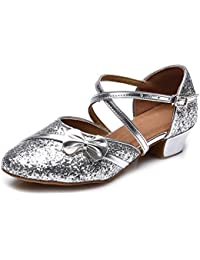 HIPPOSEUS Niñas Zapatos de Baile Latino, Dedos Cerrados, tacón de Bloque 3.5CM, ES208