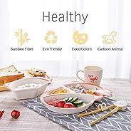 Benkeg 5 Piece Kids Dinnerware Set Bamboo Fiber Divided Plate Bowl Cup Chopsticks Spoon Kit Safe & No Smel