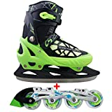 Cox Swain 2 in 1 Kinder Skates-/Schlittschuh -Blake- LED Leuchtrollen, ABEC 7 Carbon Lager, Colour: Black Green, Size: S (33-36)
