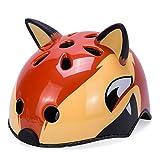 Babimax Casco bici per bambini degli animali sicurezza protezione della testa S 50-54CM per bambini dai 3-6 anni, M 54-58CM per bambini dai 7-13 anni leggero,traspirante,costante (Volpe rossa, S)