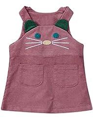 Moonuy Vestido de algodón sin mangas de impresión de gatito de niñas de bebé de ropa de vestir ropa Vestidos de 0 a 24 meses bebé (Rosa, 110)