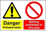 Gefahr belastetes Wasser Baden ist verboten auf diesem Bereich Safety Sign Schild aus Aluminium–3mm 600mm x 400mm