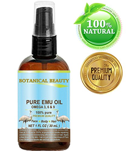 PURE EMU OIL, 100% Pure, 1 oz-30 ml. For Face, Hair, Body and Nails. Great for Dermatitis, Psoriasis, Eczema, Brittle Nails, Dry Hair & Scalp, Burns, Pain, Stretch Marks, Rosacea, Cuts, Scars, Anti- Aging and More! by Botanical Beauty -