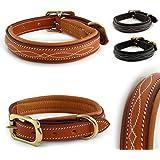 Design-Line von Pear Tannery: Hundehalsband aus weichem Vollrindleder, versehen mit einer edlen Nahtverzierung in weiss, M 41-51cm, hellbraun