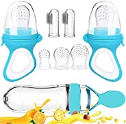 Baby Food Feeder, Fresh Food 2 Pack Fruit Feeder Pacifier, 5 Different Sized Silicone Teething Pacifiers, 1 Pa