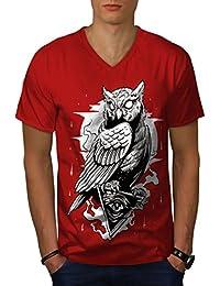 wellcoda Illuminati Gufo Uccello Uomini S-2XL T-Shirt con Scollo a V 511ac18012d