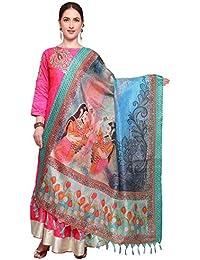 Mrinalika Fashion Cotton Silk Digital Print Dupatta (Dupattas For Womens _Salwar Suit Dgdpt03_Multi-Coloured_Free...