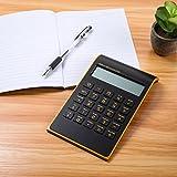 SAFETYON - Calcolatrice da tavolo Standard Business, nero/bianco/blu/rosso, a energia solare e a batteria Nero