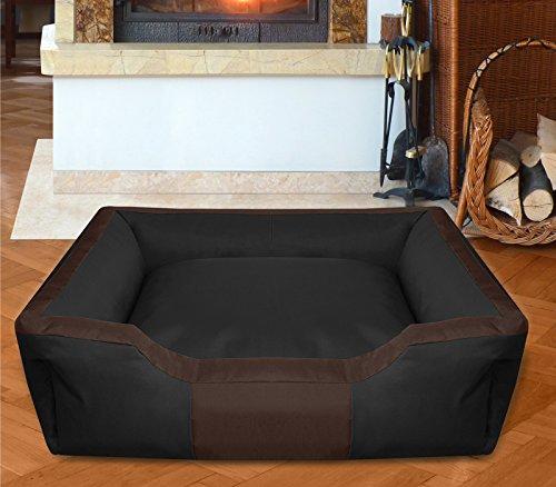 BedDog Hundebett BRUNO / großes Hundekörbchen aus Cordura / waschbares Hundebett vier-eckig mit Rand / Hundesofa für drinnen und draußen / XXL / BLACK-FIELD / schwarz-braun