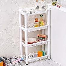 DiscountSeller carrito almacenador de 4 niveles en color blanco resistente a la oxidación para la esquina
