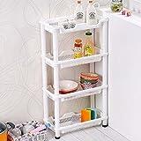Estante de 4 niveles portátil inoxidable para cocina, baño, unidad de almacenamiento, plástico ABS, Blanco, Corner