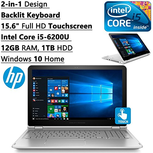 HP Envy x360 Flagship High Performance 2-in-1 Convertible Laptop PC (2016), 15.6-inch Full HD Touch-Screen Display, Intel Core i5-6200U, 12GB DDR3L RAM, 1TB HDD, Backlit Keyboard, Windows 10
